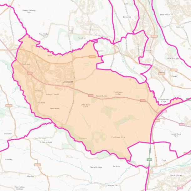 Map of Coedpoeth