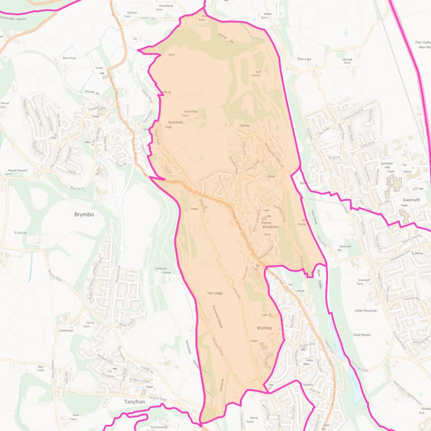 Map of Bryn Cefn