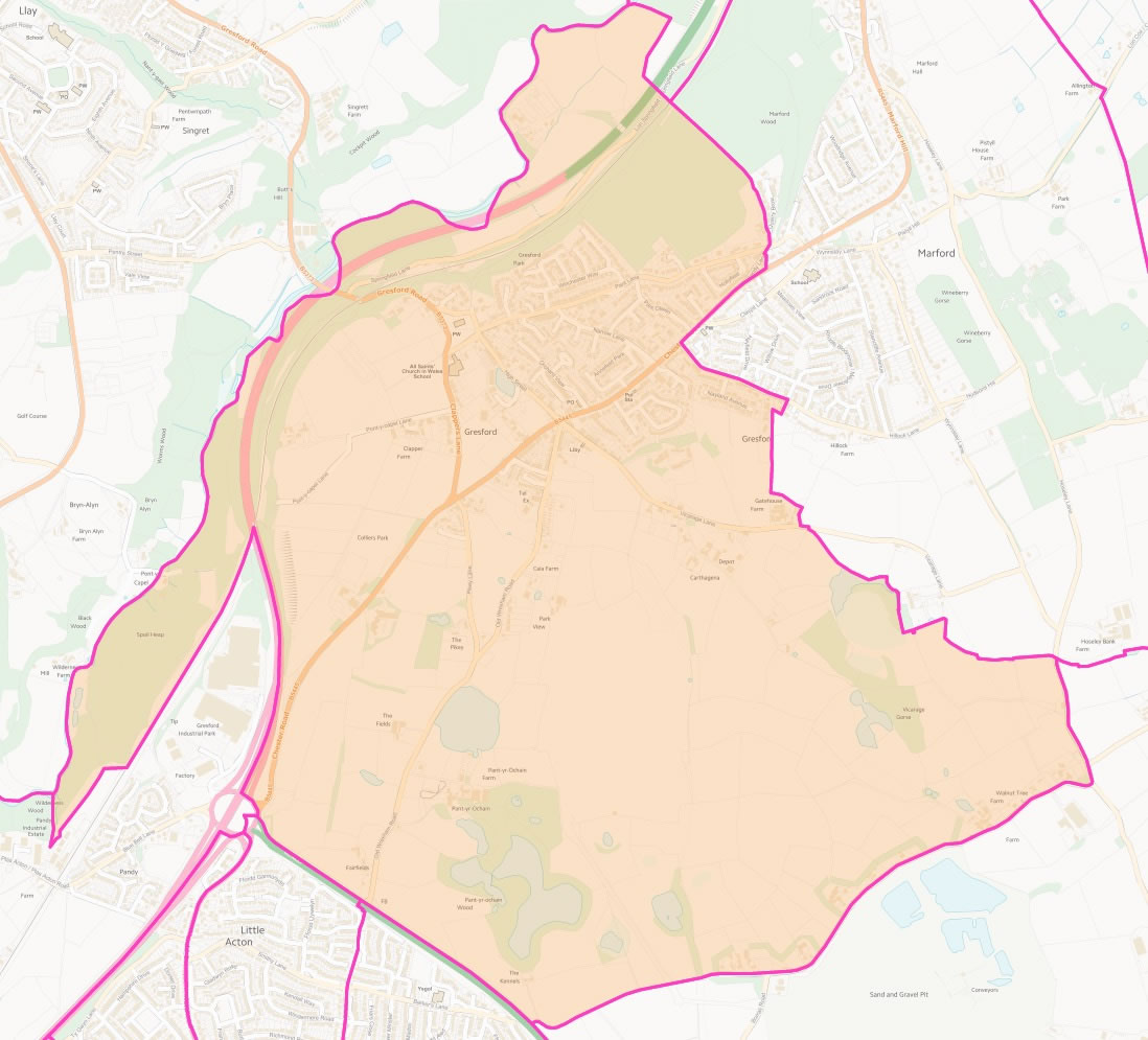 Map of Gresford East & West