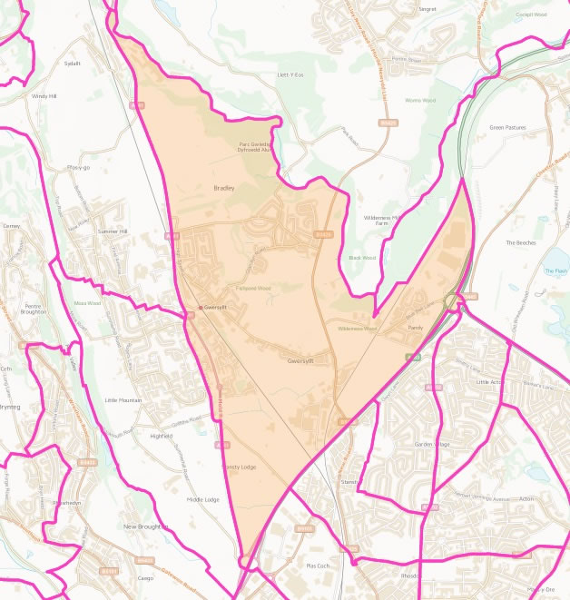 Map of Gwersyllt East and South