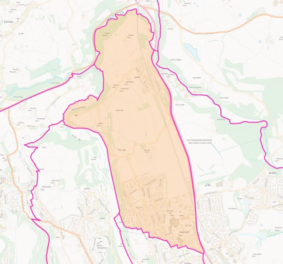 Map of Gwersyllt North