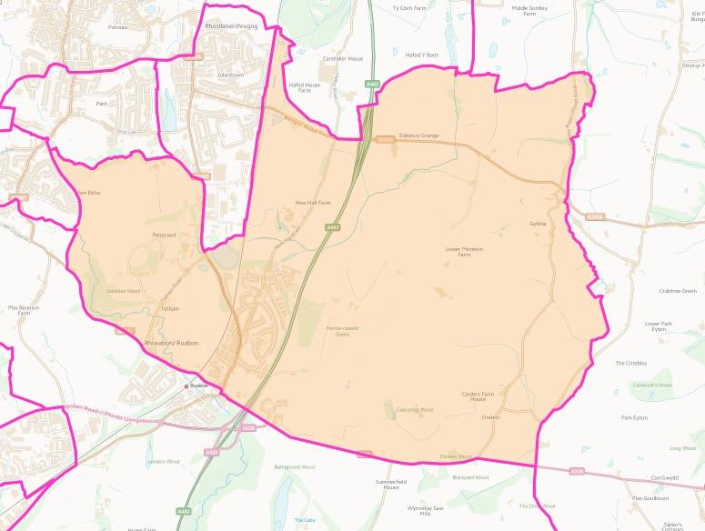 Map of Ruabon
