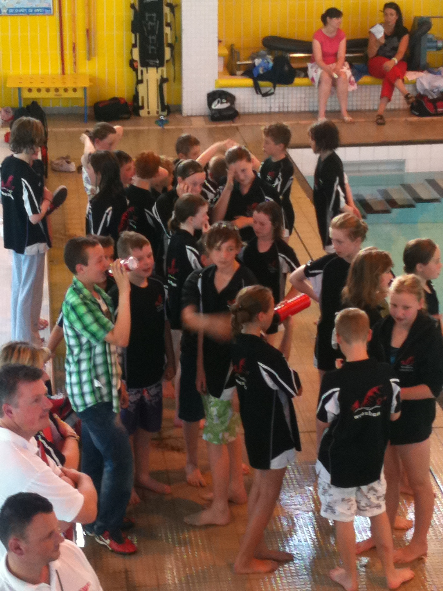 Wrexham Swimming club juniors patiently await the final results to determine the league positions