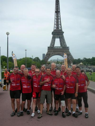 The team of thirteen businessmen who cycled from London to Paris raising £20,000 for Nightingale House Hospice in the process.