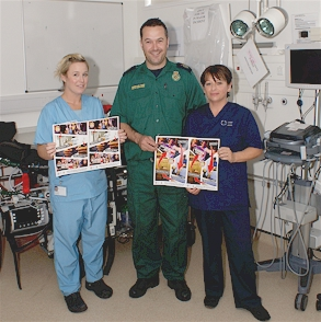 Helping to launch the scheme are A&E Staff Nurse Julie Morris, Ambulance Emergency Medical Technician Matt Hughes and A&E Sister Jackie Suter