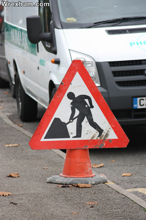 roadworks sign wrexham