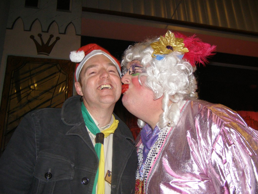 Scout Leader Pete Leach gets friendly with the Panto Dame.