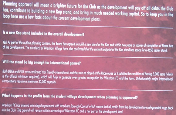 Excerpt from the 2009 Valentines Day leaflet issued to fans of Wrexham FC