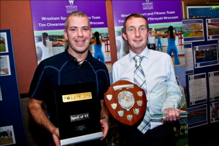 Last years Sportsmanship award winner Paul Owen and Gareth Lloyd from Brymbo Sports and Social Complex who sponsored the award.