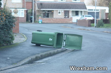 Bins have been scattered on pavements