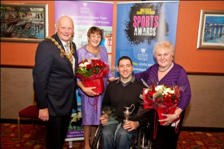 Mike Hayes, winner of Arnold Griffiths Service to Sport award, with Mayor and Mayoress and Sheila Griffiths