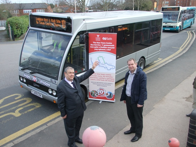 Leader of Wrexham Council Cllr Ron Davies and Cllr David Bithell launch the new service.