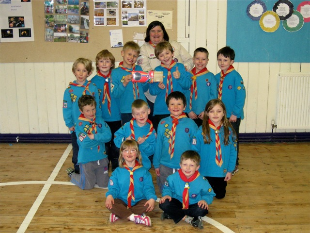 Olympic torch bearer Joanne Gregory from Llangollen Scouts with the beaver scouts.