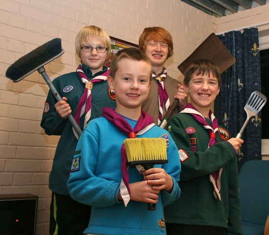 Beaver Scout Billy Lewis, 7, Cub Scout Harry Booth, 10, Scout Danny Williams, 11 and Explorer Scout Struan Nisbet, 16, all ready to help out.