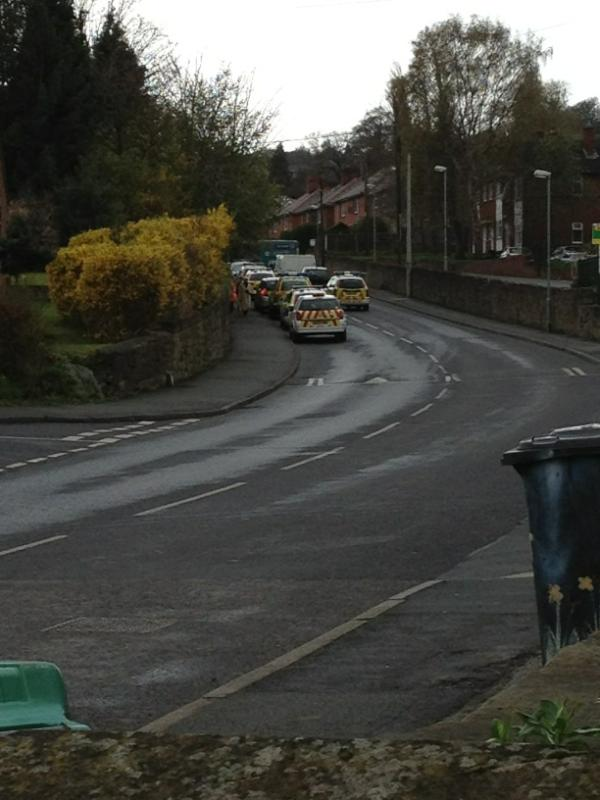 6 police cars attended the incident on Wheatsheaf Lane where a binman is alleged to have been shot with a pellet gun.