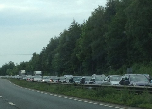 a483 queues rhostyllen 500x360 A483 Southbound Nr Rhostyllen Closed After Car Hits Back Of Lorry