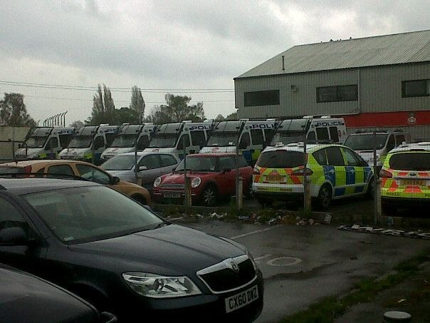 Police parked at the Racecourse