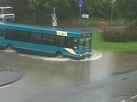 arriva bus boat Bad Weather and Floods Hit Wrexham Area   Special Report