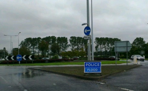 chester business park flood 500x309 Bad Weather and Floods Hit Wrexham Area   Special Report