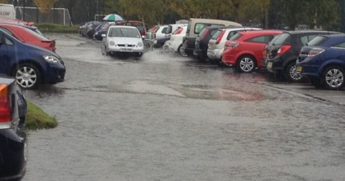 glyndwr carpark 500x263 Bad Weather and Floods Hit Wrexham Area   Special Report