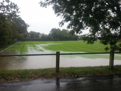 rhostyllen football pitch 500x375 Bad Weather and Floods Hit Wrexham Area   Special Report