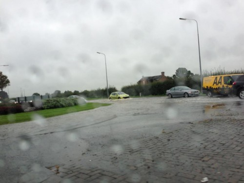 roundabout by kings 500x375 Bad Weather and Floods Hit Wrexham Area   Special Report