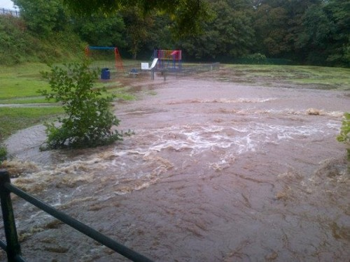 the rec Penycae 500x375 Bad Weather and Floods Hit Wrexham Area   Special Report