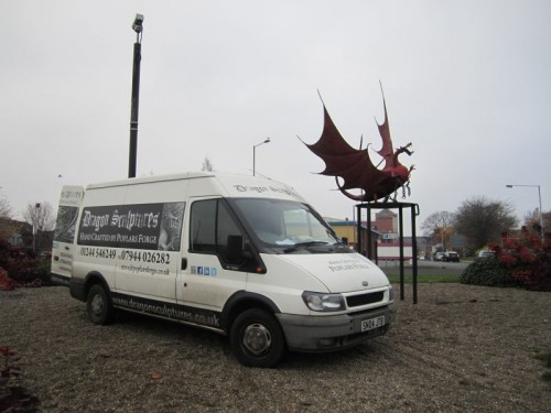 dragon roundabout install van 500x375 Morag The Dragon Captured By Tesco