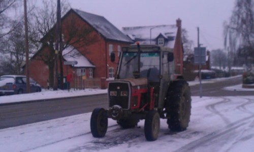 girl arrives at school on tractor 500x299 Friday: Wrexham Snow   Live Updates And Information