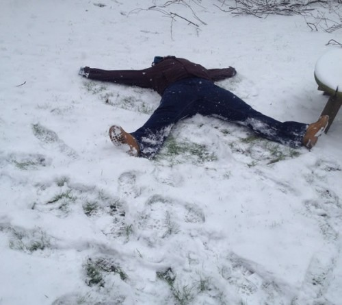 its not a body its a snow angel 500x445 Friday: Wrexham Snow   Live Updates And Information