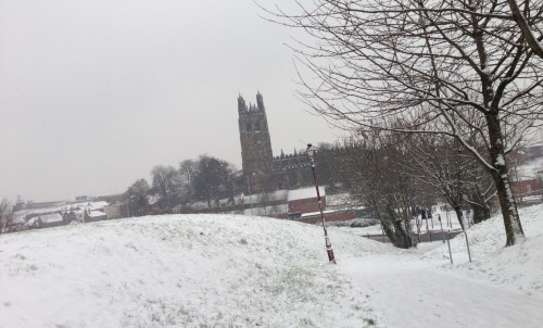 snowy panorama of wrexham 500x302 Friday: Wrexham Snow   Live Updates And Information