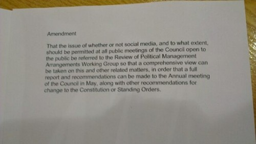 The amendment that we were able to tweet live from the meeting. The taking of a picture seemed revolutionary in parts of the media and the council!