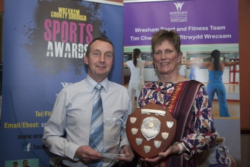 Wrexham County Borough Council Sports Awards at Brymbo Sports and Social Complex. Pictured is Jacqui Walker of Wrexham Bradley raiders receiving the sportmanship awardfrom Gareth Lloyd from Brymbo sports and social complex.