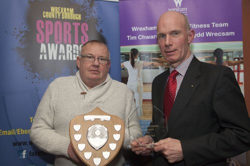Wrexham County Borough Council Sports Awards at Brymbo Sports and Social Complex. John Nutthall of Brickfield Rangers recieves the Club of the Year Award from Cllr David Bithell MBE