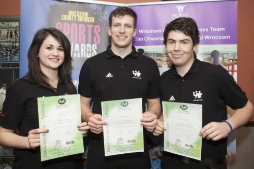 Wrexham County Borough Council Sports Awards at Brymbo Sports and Social Complex. Pictured is Millennium volunteers with their certificates from Left Lucy Chalk, Andrew Myres and  Robert Ward.