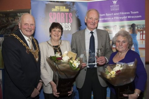 Wrexham County Borough Council Sports Awards at Brymbo Sports and Social Complex. Pictured is the mayor and Mayoress of Wrexham Cllr Ian Roberts and Hilary Roberts with Tim Flack of Chirk Cricket club , winner of the Arnold Griffiths service to sport award, presented by Mrs Sheila Griffiths.
