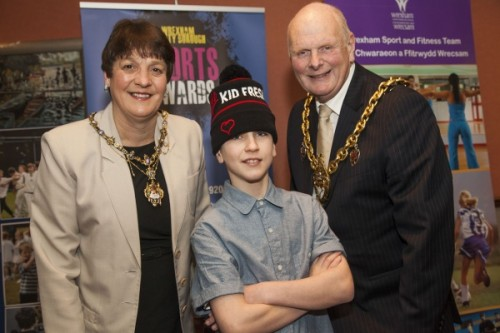 "Wrexham County Borough Council Sports Awards at Brymbo Sports and Social Complex. The Mayor and Mayoress of Wrexham Cllr Ian Robarts and Mrs Hilary Roberts with Tom Hughes-Lloyd, a finalist in Sky TV's ""Got to Dance"" who perfomed at the awards last night."