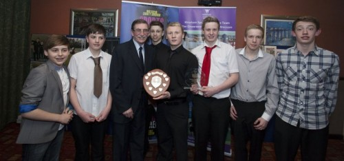 Wrexham County Borough Council Sports Awards at Brymbo Sports and Social Complex. pictured is Wrexham Boys Relay squad (swimming) winners of the team of the year award.