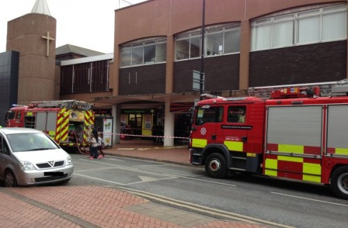 fire service in regent st 500x329 Fire At B&M Bargains In Wrexham Town Centre