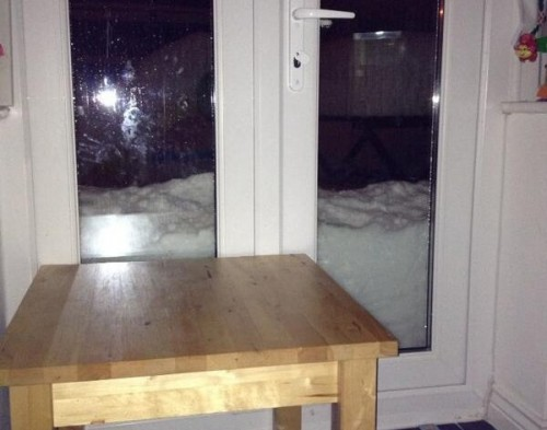 snow against windows