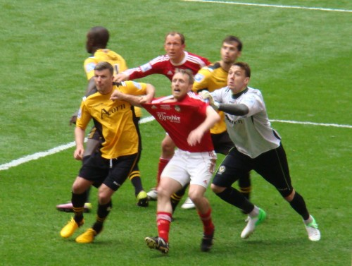 Ormerod being pulled in the box