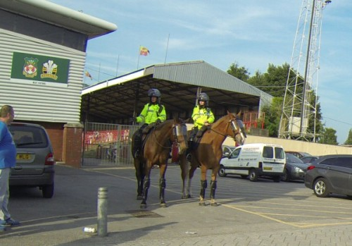 Police horses outside the Racecourse, with the Turf closed by them.