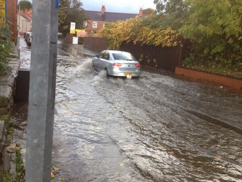 Ceri Hopkins sent us this picture of flooding on Hightown Road
