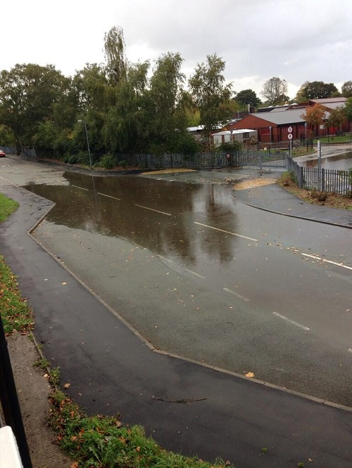 Oliver Evans sent us this picture of flooding outside St. Christopher's school