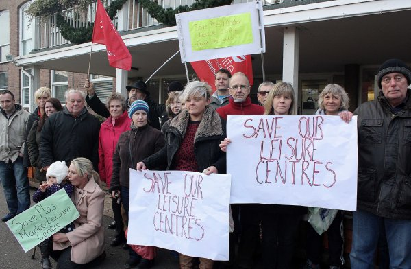 Protesters against the closure of Plas Madoc and Waterworld attended the meeting - Picture via Andrew McCoy