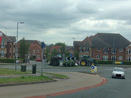 overturned trailer Brymbo
