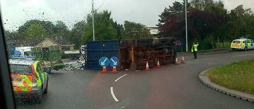 Paul sent us this photo of the incident and the diversions that are in place.