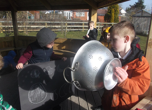 Susan Williams Headteacher at Bwlchgwyn C P School sent us these photos of students witnessing the eclipse.