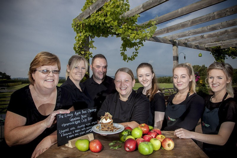Erddig Apple food challenge. Bellis' Brothers, Holt. Pictured are Fiona jones, Marie Streton, Kevin Bridson, Estelle Cank, Ffion Hughes, Renee Carroll and Sarah Lewis.