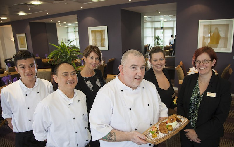 Erddig Apple challenge. Pictured at the Ramada Plaza Hotel is Chef Steve Rawlinson (front) with Edward Wynne, Danillo Jacinto, Claire Magenheimer, Sophie Walker and Alison Buck.